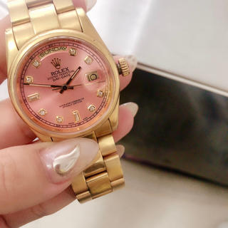 ROLEX - ROLEX ピンクフェイス ゴールド腕時計