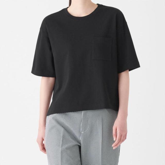 MUJI (無印良品)(ムジルシリョウヒン)の無印 MUJI 太番手天竺編みクルーネックワイドTシャツ サイズM〜L ブラック レディースのトップス(Tシャツ(半袖/袖なし))の商品写真