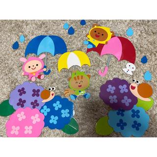 あじさい壁面 梅雨 6月壁面 壁面飾り(型紙/パターン)