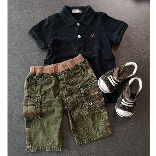 ダブルビー(DOUBLE.B)のダブルビー ポロシャツ100 ショートパンツ90 シューズ14cm 3点セット(スニーカー)