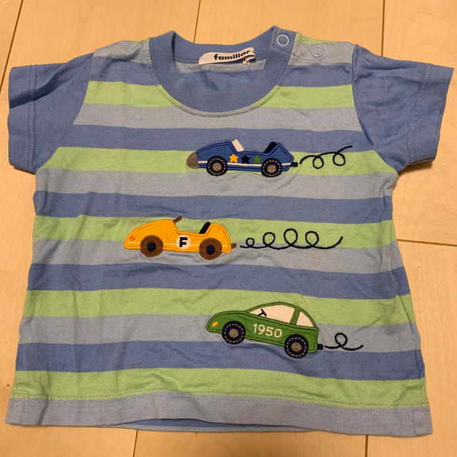 familiar(ファミリア)のファミリア ボーダーTシャツ、グレーTシャツ、ハーフパンツ キッズ/ベビー/マタニティのベビー服(~85cm)(Tシャツ)の商品写真