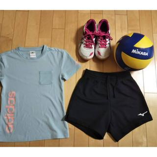 asics - バレーボール ジュニア 女の子 セット(シューズ、ボール、パンツ、tシャツ)