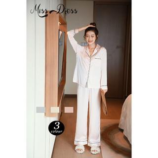 サテン パジャマ ルームウェア 長袖 かわいい 前開き 上下セット 部屋着 女子(浴衣)