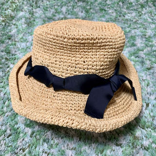 スタディオクリップ(STUDIO CLIP)の麦わら帽子 サイズ調整可能 リボン ネイビー  (麦わら帽子/ストローハット)