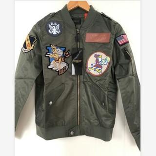 メンズ  ジャケット MA-1  フライトジャケット 刺繍  緑&M  中綿なし(フライトジャケット)