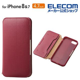 ELECOM - iPhone 8 iPhone 7用 ソフトレザーケース  レッド エレコム