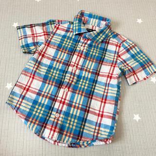 ベビーギャップ(babyGAP)の【同梱100円】baby GAP 半袖チェックシャツ 90〜100(Tシャツ/カットソー)