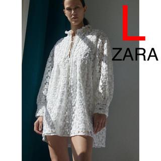 ザラ(ZARA)のZARA ストラクチャ入り生地ミニワンピース ワンピース ストラクチャ 刺繍(ミニワンピース)