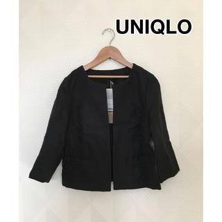 ユニクロ(UNIQLO)の タグ付き新品 ユニクロ リネン ノーカラージャケット ブラック Sサイズ(ノーカラージャケット)