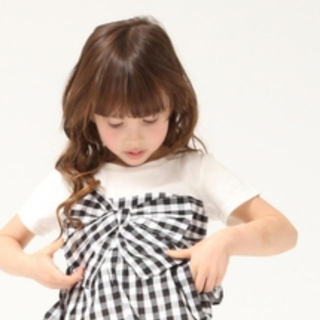 GLOBAL WORK(グローバルワーク)のグローバルワークギンガムチェックカットソーXXL キッズ/ベビー/マタニティのキッズ服女の子用(90cm~)(Tシャツ/カットソー)の商品写真
