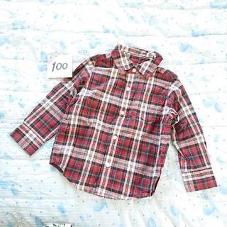 ベビーギャップ(babyGAP)の㉗100センチ 赤チェックのシャツ おそろい(Tシャツ/カットソー)