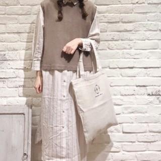 サマンサモスモス(SM2)のSM2 麻綿刺繍ロゴトート 新品タグ付き(トートバッグ)