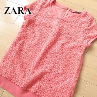 ザラ(ZARA)の超美品 (USA)XS ザラ ZARA レース 半袖カットソー ピンク(カットソー(半袖/袖なし))