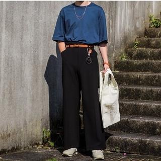 サンシー(SUNSEA)のSUNSEA 20ss LEATHER ピス T-SHIRT 【サイズ2・青色】(Tシャツ/カットソー(半袖/袖なし))