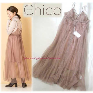 who's who Chico - 新品who's who Chicoフーズフーチコ ドットチュールキャミワンピース
