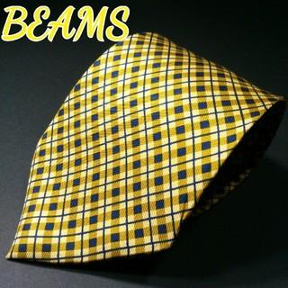 ビームス(BEAMS)の【美品】BEAMS F チェック ネクタイ イエロー(ネクタイ)