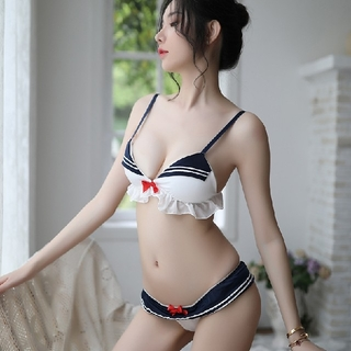 セクシー女学生風 ブラ&ショーツセット JKコスプレ衣装   フリーサイズ(衣装一式)