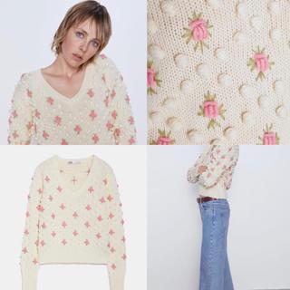 ZARA - 新品・未使用 フラワー刺繍 セーター