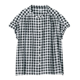 MUJI (無印良品) - 【新品】無印良品 新疆綿強撚フレンチスリーブブラウス/XS~S/黒×チェック