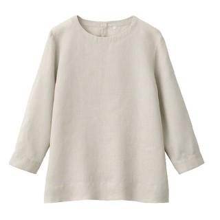 MUJI (無印良品) - ■新品■無印良品オーガニックリネン洗いざらし七分袖ブラウス/ペールブラウン/M