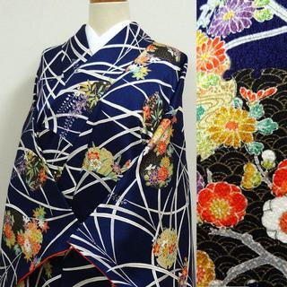 濃い青色に笹と雪輪の花 あでやか小紋(着物)