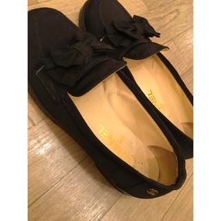 シャネル(CHANEL)のCHANEL シャネル シューズ 靴 ローファー ブラック リボン 37ハーフ(ローファー/革靴)