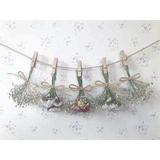 かすみ草と3種のピンクのバラのドライフラワーガーランド♡スワッグ♡ミニブーケ (ドライフラワー)