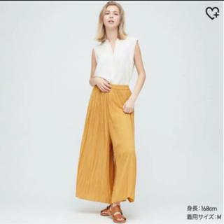 UNIQLO - ユニクロ 完売 今季 ワッシャーサテンスカートパンツ S イエロー