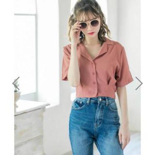 GRL - GRL オープンカラーショートシャツ 美品 1度のみ ピンク オープンカラー
