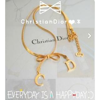 Christian Dior - ❥⃝❤ChristianDior❥⃝❤新品未使用リボンネックレスGOLD❤
