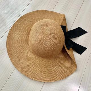 スナイデル(snidel)の【新品】snidel スナイデル つば広リボン帽 SWGH131615(麦わら帽子/ストローハット)