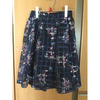 グレイル(GRL)のGRL  オーガンジーチェック花柄スカート(ひざ丈スカート)