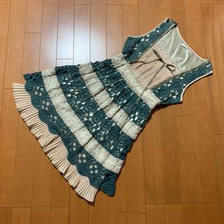 axes femme - 美品☆ アクシーズファムの挟みレース裾プリーツワンピース