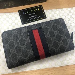 グッチ(Gucci)のグッチ  シェリー ラウンド 長財布 PVC 男女 黒(長財布)