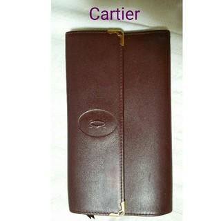 カルティエ(Cartier)のカルテェ Cartier ボルドーレザー三つ折り長財布/小銭入れあり(財布)