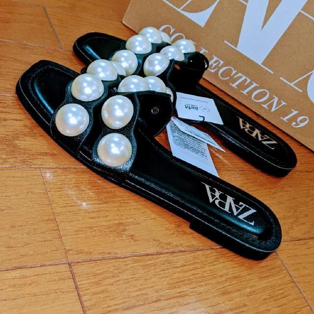 ZARA(ザラ)のZARA◆パール付きレザーフラットサンダル◆新品/タグ付き◆ レディースの靴/シューズ(サンダル)の商品写真