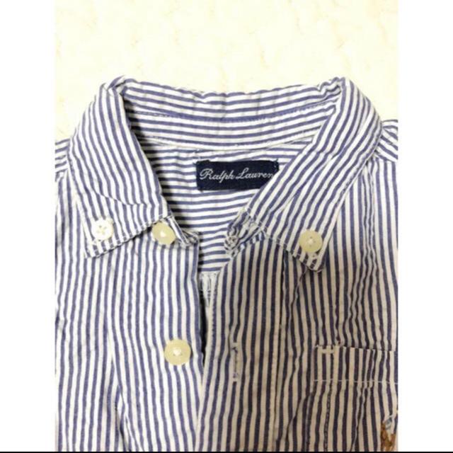 Ralph Lauren(ラルフローレン)の美品 ラルフローレン 半袖ロンパース 70 シャツ ストライプ 6M キッズ/ベビー/マタニティのベビー服(~85cm)(ロンパース)の商品写真