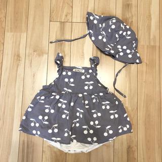 ZARA KIDS - 韓国子供服 チェリー柄ワンピース ロンパース 帽子セット さくらんぼ