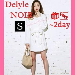 Delyle NOIR - デイライルノアール シンプルリボンコート トレンチコート ホワイト Sサイズ