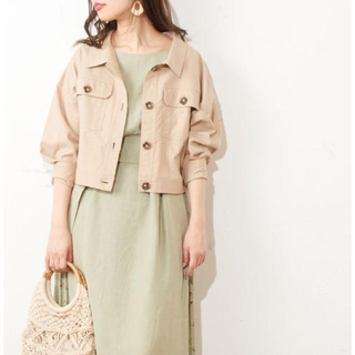 natural couture - ナチュラルクチュール 綿麻ライトショートブルゾン