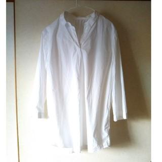 スキッパーシャツ 七分袖 LL 白 コットン100%