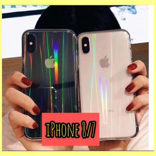 iPhone8/7ケース クリアケース オーロラホログラム   スマホカバー