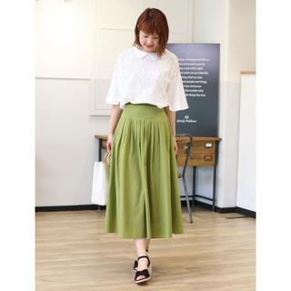 アウィーエフ(AuieF)のクレディブリリアン 超美品 アプリコットグリーンのとろみロングスカート(ロングスカート)