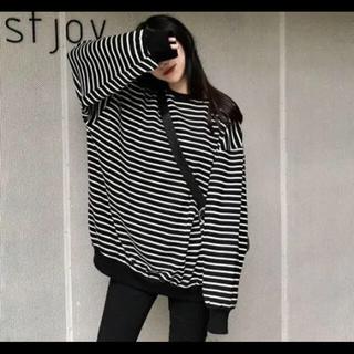 dholic - オーバーサイズボーダーTシャツ 韓国