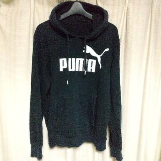 プーマ(PUMA)のPUMA ビッグロゴ スウェット パーカー 黒 ブラック プーマ スポーツ 古着(パーカー)
