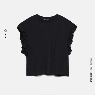 ZARA - ZARAフリル付きTシャツ 黒 M