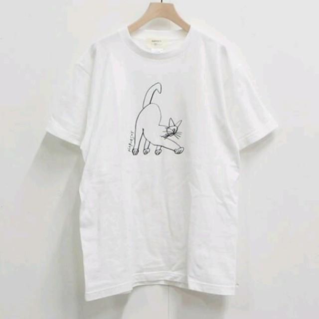 YAECA(ヤエカ)の美品⭐ハーベスティ HAVESTY cat プリントTシャツ ホワイト レディースのトップス(Tシャツ(半袖/袖なし))の商品写真