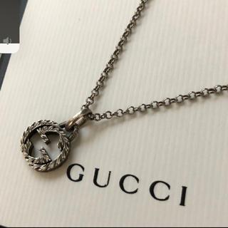 Gucci - GUCCI インターロックキングG燻ネックレス