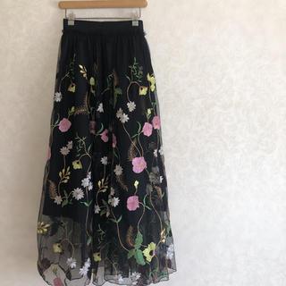 H&M - 花刺繍 ロングスカート