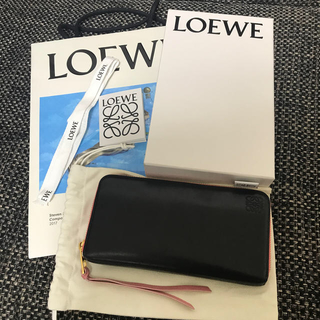 LOEWE - ロエベ ラウンドファスナー 長財布 黒/ピンク バイカラー